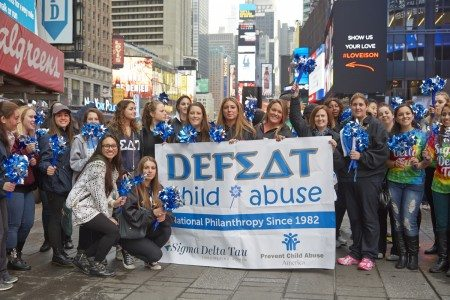 SDT sisters gathered in Times Square for the PCAA Big Pinwheel Garden on April 7, 2015.